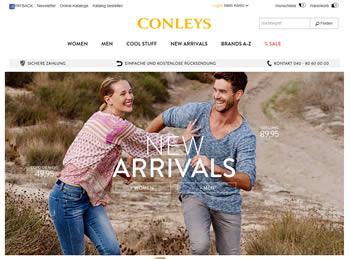 Profitiere mit dem Conleys Gutschein von günstigen Preisen und bestell neue Fashiontrends für Sie und Ihn